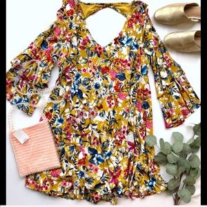 NWT Entro Mustard Yellow Floral Dress